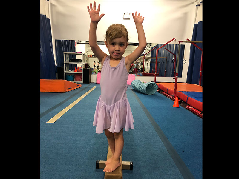 Dancenastics –  Dancenastics allows students to discover the basics of dance in the studio, and the basics of gymnastics in the gymnastics facility.  It is an excellent introduction to both disciplines! For ages 2-4.