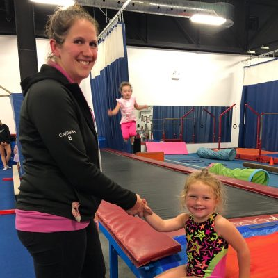 Parent & Tot – The Parent and Tot program is a 45 minute class for athletes ages 2 & 3, and is an interactive program for parent and child to participate in learning basic gymnastics through fun and interactive activities.